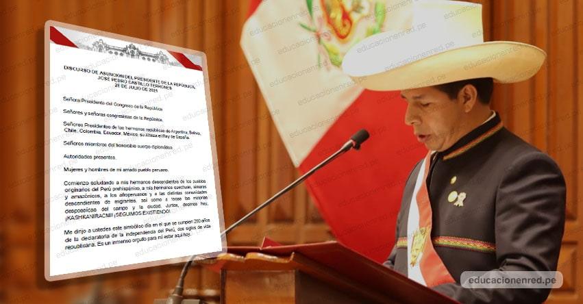 MENSAJE A LA NACIÓN: Texto Completo del Mensaje Presidencial (28 Julio 2021) Pedro Castillo Terrones - DESCARGAR .PDF - www.presidencia.gob.pe
