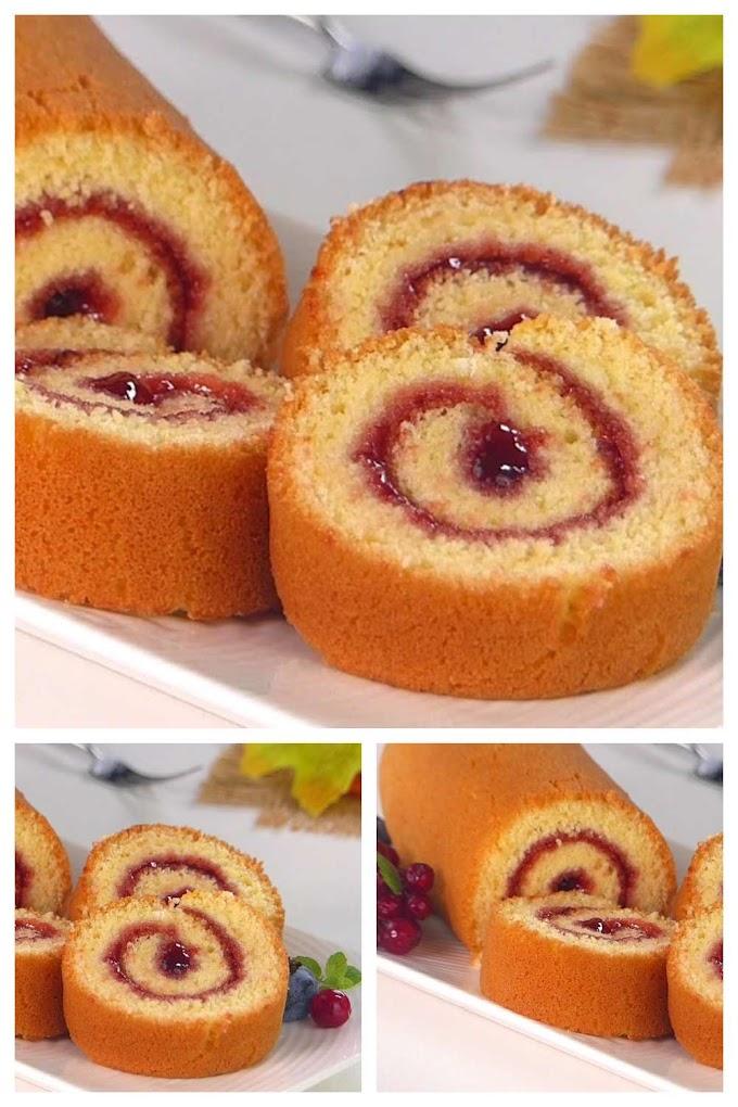 Jam Roll Cake Recipe - ஜாம் ரோல் கேக்