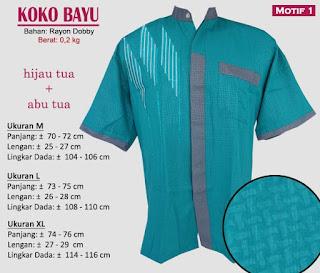 Koko lengan pendek kombinasi 2 warna - bayu motif 1