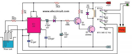 Circuit Schematic Automatic Water Pump Controller using 555 Timer