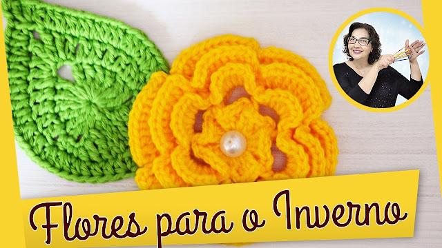 edinir croche ensina Como fazer essa linda flor em crochê para o Inverno com edinir croche no cursodecrochegratis