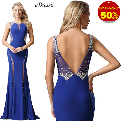 Plunging V Back Beaded Blue Prom Dress Formal Gown