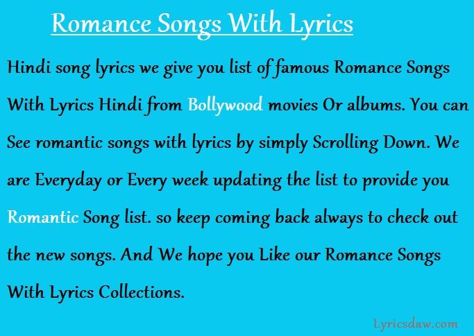 Romance Songs With Lyrics Listen & enjoy all the top 10 hindi love bollywood songs. romance songs with lyrics