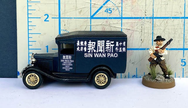 Lledo DG13 Ford 1934 Model A Van, Sin Wan Pao Newspaper, Shanghai, China, 28mm WW2 Bolt Action Wargaming