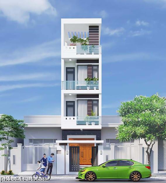 Mặt đứng chính mẫu nhà phố quốc dân rộng 4 mét