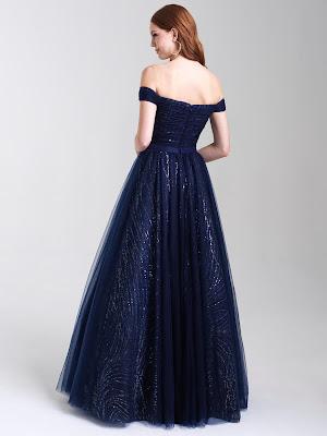 Off the shoulder Madison Jame prom dresses Navy Blue color back side