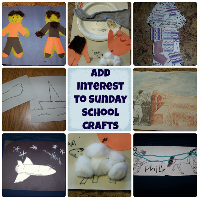 Add Interest to Sunday School crafts (dimensions, texture, moving parts...) | scriptureand.blogspot.com