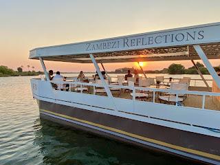 The Zambezi Reflection cruise vessel on the Zambezi River above the Victoria Falls, Zimbabwe
