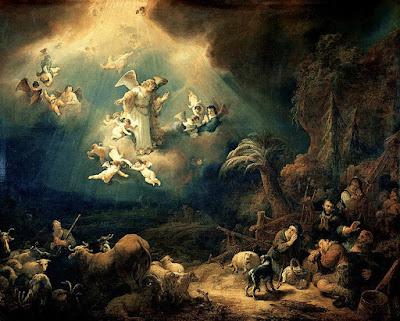 """""""Anjos anunciam o nascimento de Cristo para os pastores"""" (1639) - pintura de Govert Flinck (1615-1660) pertencente ao acervo do Museu do Louvre em Paris, França."""