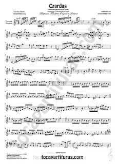 Trompeta y Fliscorno Partitura de Czardas Sheet Music for Trumpet and Flugelhorn Music Scores