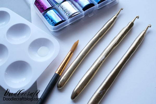 Paint the crochet hooks with gilding adhesive
