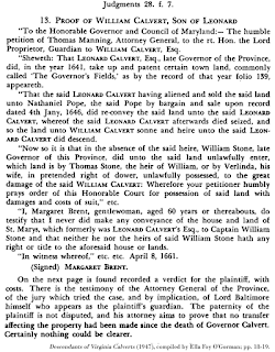 Image of William Calvert proof of claim; Descendants of Virginia Calverts (1947), compiled by Ella Foy O'Gorman; pp. 18-19.