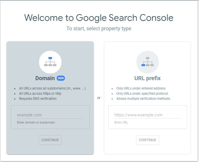 Welcome to Google Search Console To start, select property type