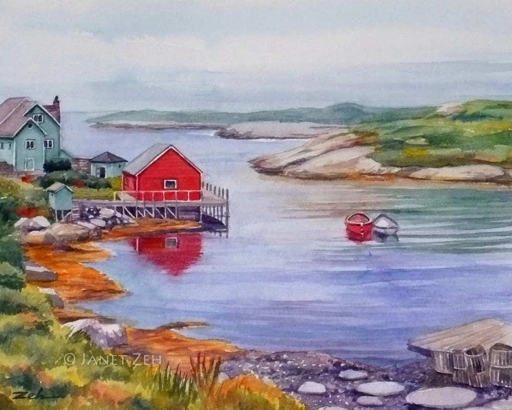 Nova Scotia Harbor Watercolor Fine Art Print