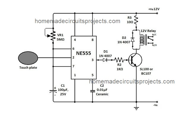 touch sensitive switch circuit using IC 555