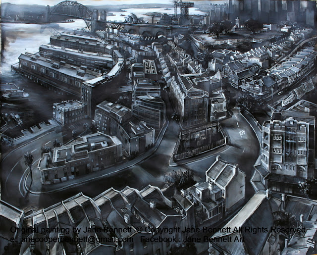 ink charcoal gouache drawing on paper of Barangaroo and Millers Point, Walsh Bay Wharves, Sydney Harbour Bridge and Hammerhead Crane from the Harbour Control Tower industrial heritage artist Jane Bennett by