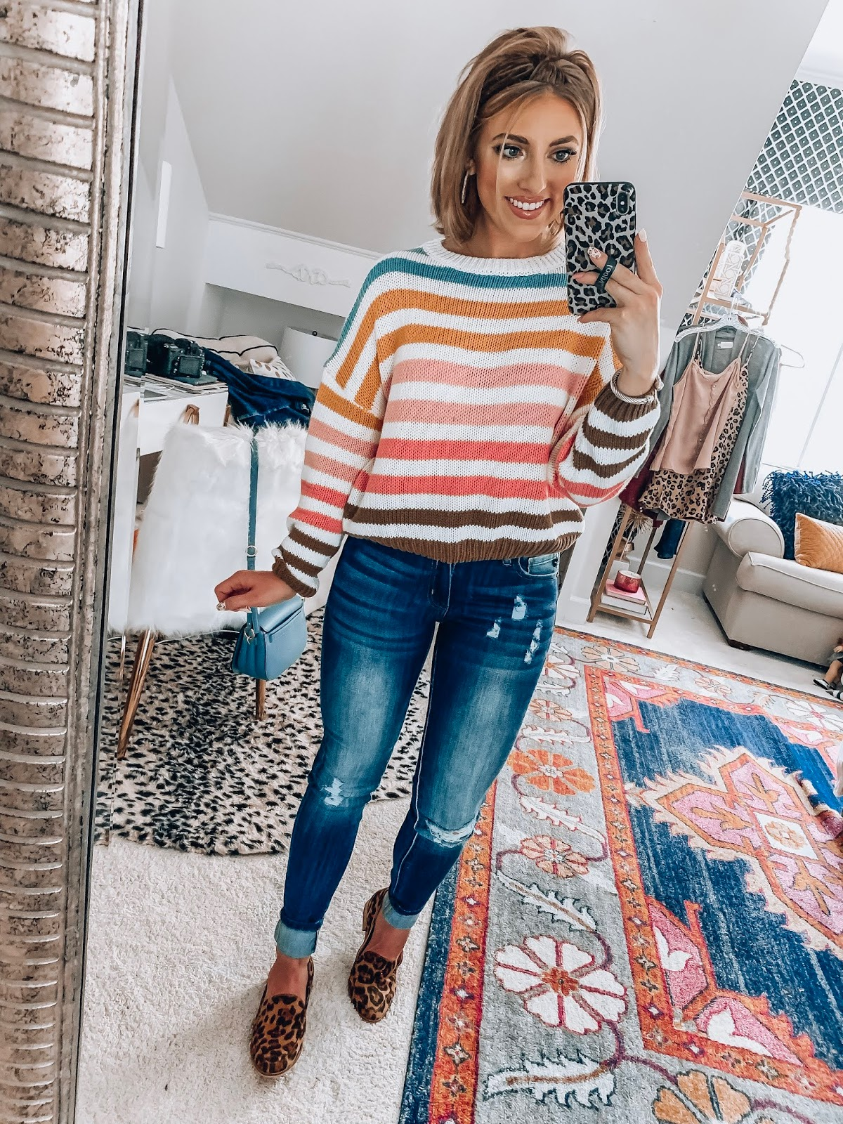 Fall Style: $48 Stripe Cropped Sweater, $44 Jeans and $38 Leopard Loafers // Something Delightful Blog