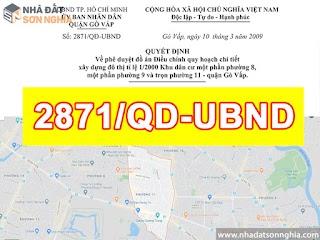 Quyết định số 2871/QĐ-UBND quy hoạch khu dân cư tỉ lệ 1/2000 phường 8 - 9 - 11 quận Gò Vấp