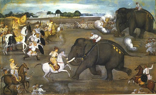 Prince Aurangzeb facing a maddened elephant named Sudhakar (7 June 1633)