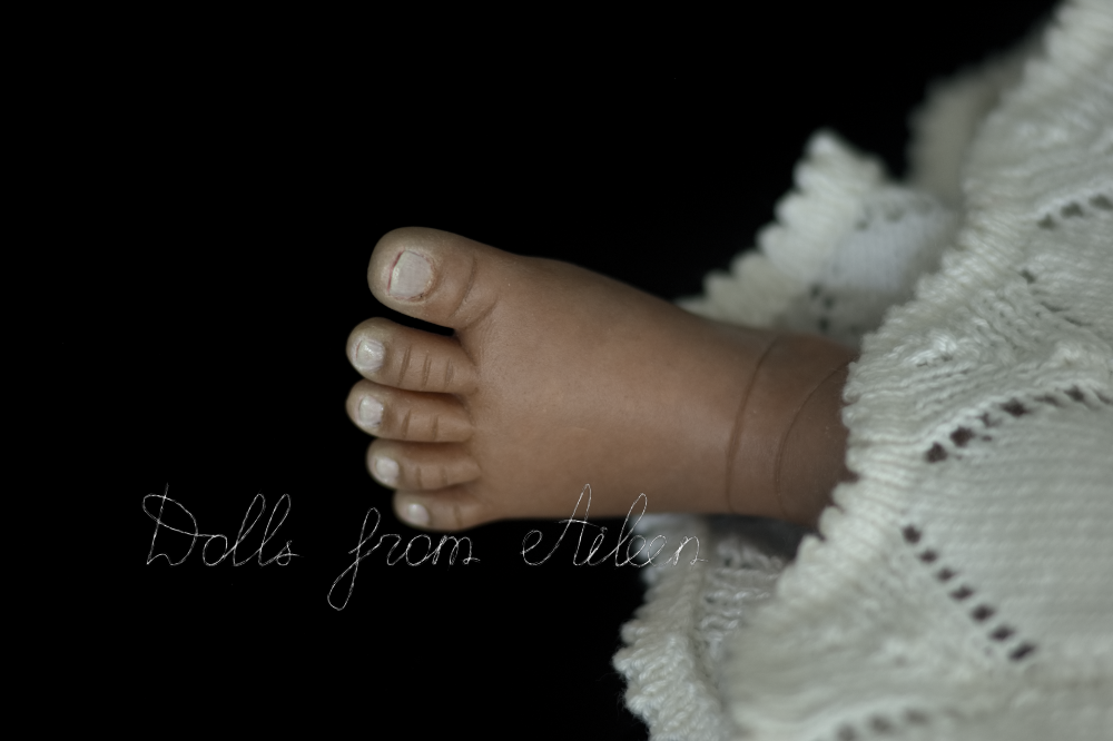 close up of sculpted baby foot and toes