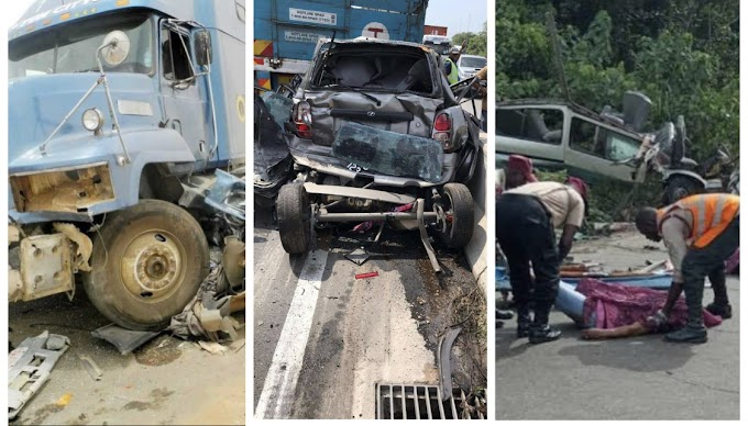 Just happened 2 dead as truck fail brake at Lagos expressway