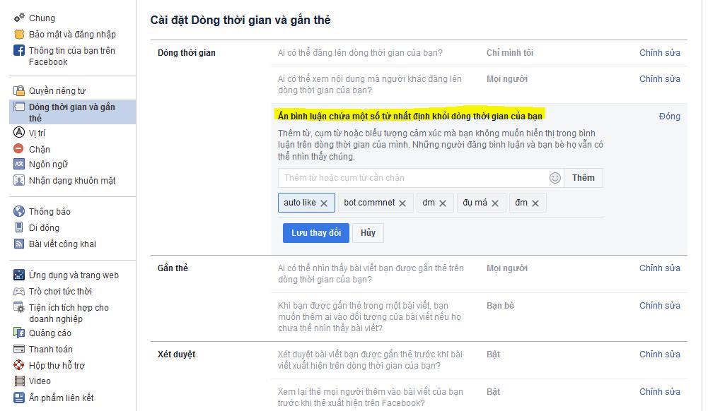 Hướng dẫn chặn comment thô tục tự động trên facebook cá nhân nhanh chóng