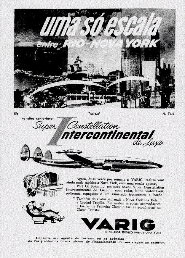 Propaganda antiga da Varig promovendo voos entre Rio de Janeiro e Nova York em 1951