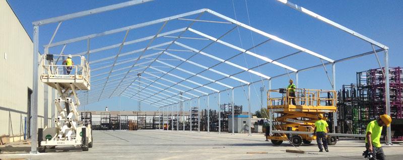 instalación carpas almacenes Pamplona