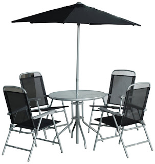Exclusive OFFER Garden Furniture Sets £79.9 – CB Imports 4 Seater Metal Patio Furniture Set including Parasol, Glass Table and 4 Chairs