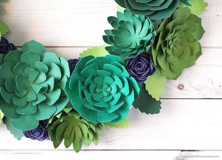 Paper Succulent Wreath Closeup
