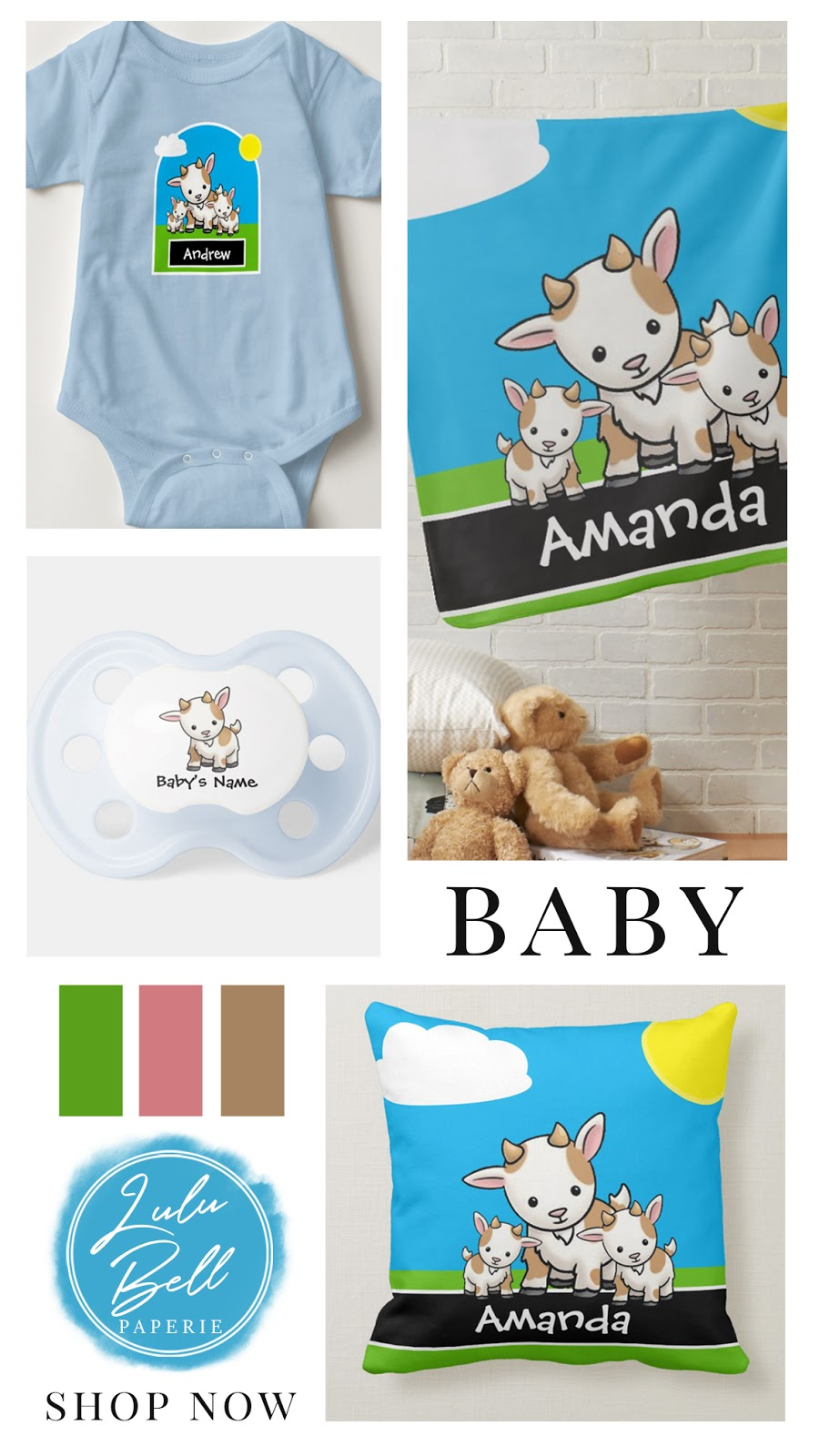Baby Goats Personalized Nursery Collection - pillow, pacifier, blanket, and baby bodysuit with custom name.