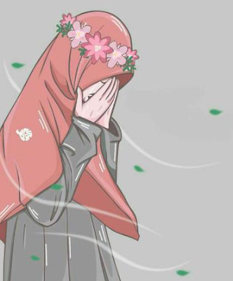 Gambar Kartun muslimah Sedih