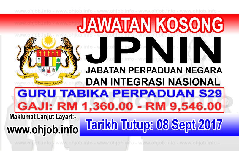 Jawatan Kerja Kosong Jabatan Perpaduan Negara dan Integrasi Nasional - JPNIN logo www.ohjob.info september 2017