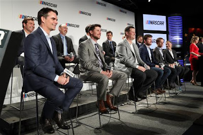 #NASCAR drivers and executives sit on stage during a press conference  outlining the changes to the 2017 Monster Energy NASCAR Cup Series  at Charlotte Convention Center on January 23, 2017 in Charlotte.