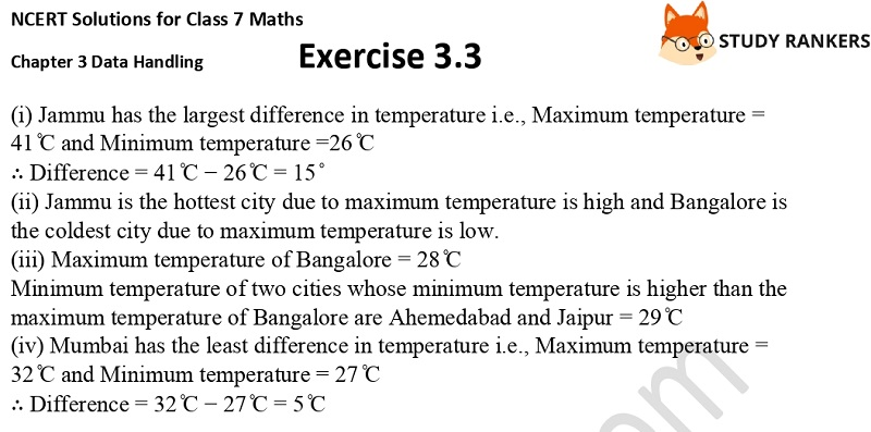 NCERT Solutions for Class 7 Maths Ch 3 Data Handling Exercise 3.3 4