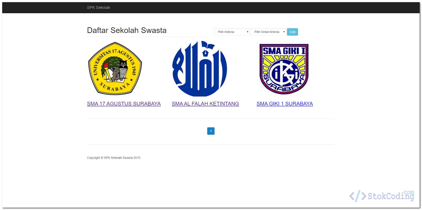 Aplikasi SPK Sekolah Terbaik Berbasis Web (Codeigniter)