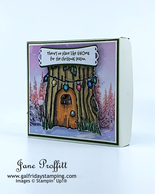 Create a gnome house in a box with the Gnome for the Holidays stamp set.  Diorama for your children in a box.
