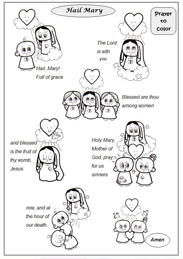 hail mary prayer coloring pages for children - photo #16