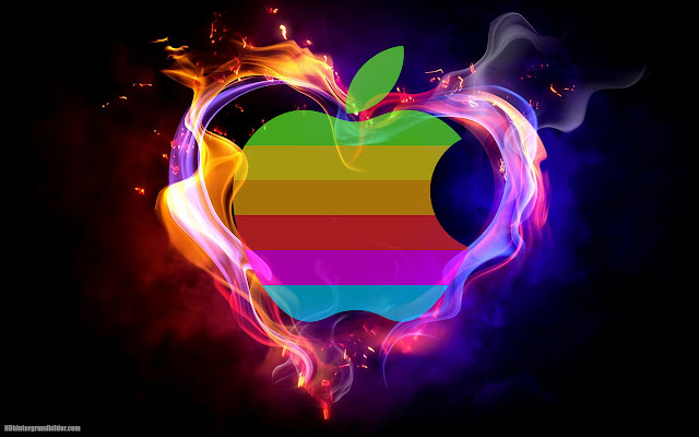 Wallpaper with Apple logo and love heart of fire