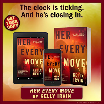 """""""The clock is ticking. And he's closing in."""" Image of Her Every Move cover on tablet, smartphone, and paperback. Get your copy! Her Every Move by Kelly Irvin"""