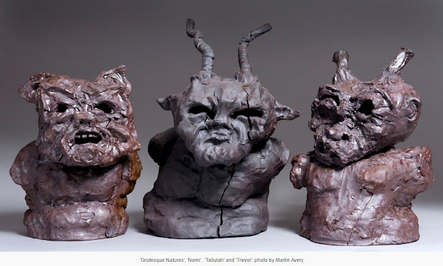 Three sculptures by Holly Louise Inglis entitled Grotesque Natures