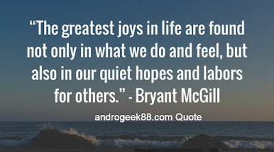 The greatest joys in life are found not only in what we do and feel but also in our quiet hopes and labors for others.