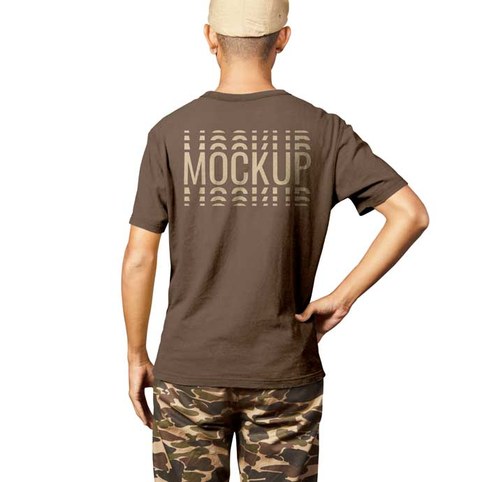 Realistic Back Man Shirt Mockup