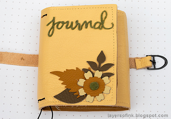 Layers of ink - Wrapped Leather Journal by Anna-Karin Evaldsson with Eileen Hull Sizzix dies