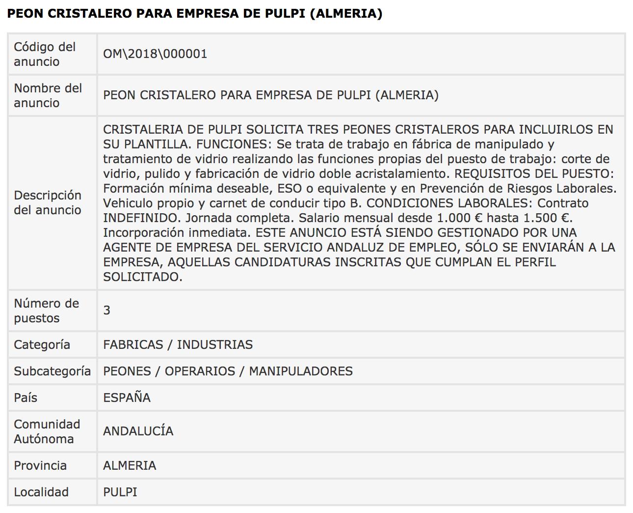 Ofertas de Empleo en España: Peón cristalero - Pulpí - photo#27