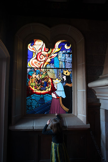 Stained Glass Window in the Castle at Disneyland Paris in Marne-la-Vallée Outside Paris
