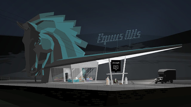 Screenshot of petrol station Equus Oils from the game Kentucky Route Zero
