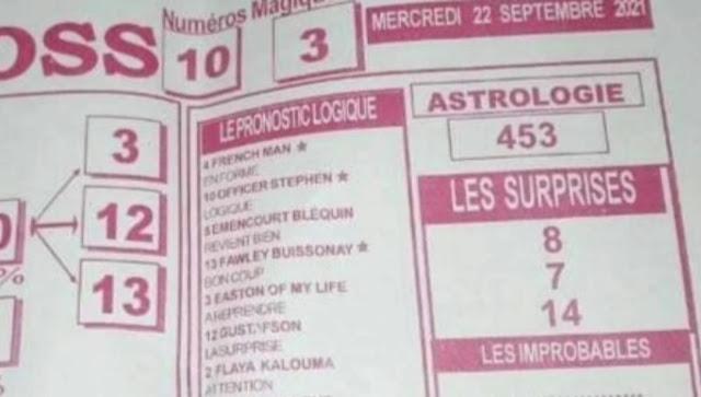 Pronostics quinté pmu Mercredi Paris-Turf TV-100 % 22/09/2021