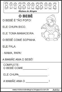Pequenos textos para alfabetização com bebê