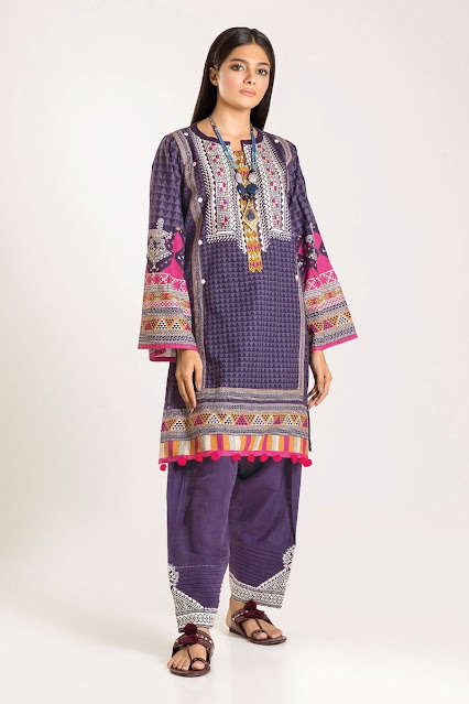 khaadi winter embroidered purple color 2 piece suit